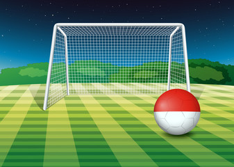 A ball at the soccer field with the flag of Monaco