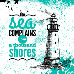 Travel grunge background. Sea nautical design