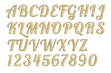Letterpress uppercase alphabets - A to Z. Nice wood  style.