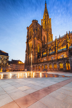 Strasbourg cathedral, early summer night