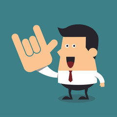 Young businessman show love hand sign, Business concept