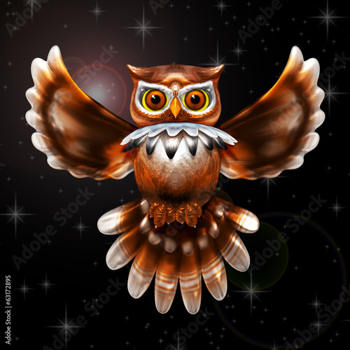 Surreal Owl Metallic on the Night 3d