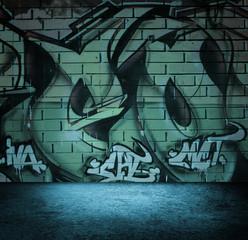 Street art graffiti wall background, urban grunge design.