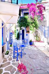 Beautiful streets of Skiathos island, Greece - fototapety na wymiar