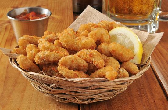 Popcorn shrimp and beer