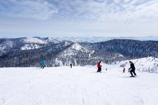 Skiing at Whitefish, Montana, overlooking Glacier National Park