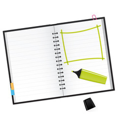 Scrapbook with green text marker Vector Illustration