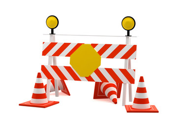 Reconstruction sign - road block sign