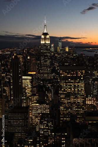 Fototapete Vue aérienne de New York de nuit