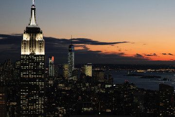 Fototapete - Vue aérienne de New York de nuit