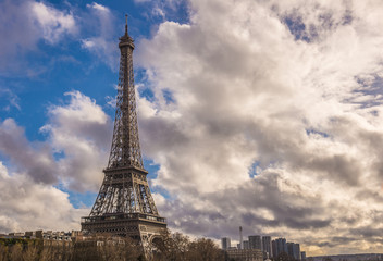 Tour Eiffel and dramatic cloudy sky, Paris