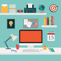 Vector of Office set for work .
