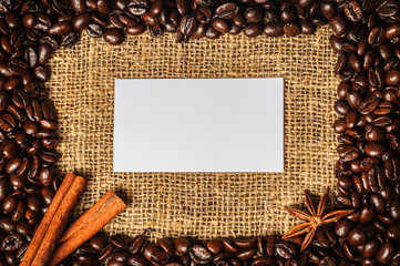 Coffe frame with visiting card in it