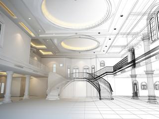 sketch design of interior hall