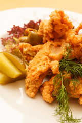 fried chicken with vegetables
