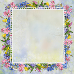 Border of flowers on a beautiful gentle background