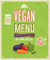 Wall Mural - Vintage Vegan Menu Poster. Vector illustration.