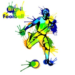 Vector illustration - football soccer player kick the ball