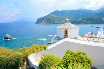 Obraz Church above Skopelos, Greece - fototapety do salonu