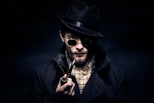 Portrait of man, Sherlock Holmes like character