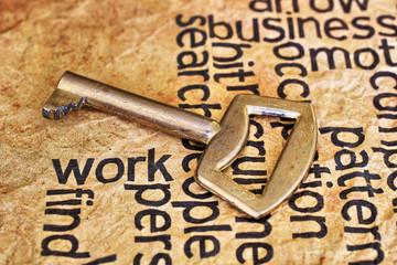 Golden key on work text