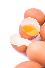 eggs on a white background with an open egg