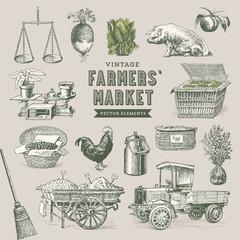farmers' market - set of nostalgic vector elements