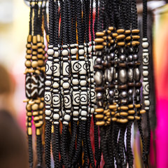 Handmade bracelets in the market