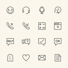 Call center icons set