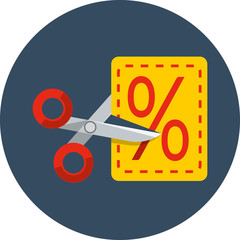 Scissors cutting through coupon dotted line