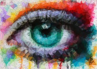 beautiful eye in geometric styling abstract geometric background