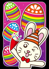 Happy Easter  bunny and eggs at the star background