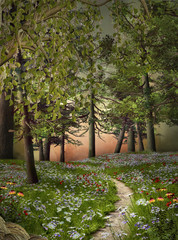 Wall Mural - Enchanted nature series - Mysterious summer forest
