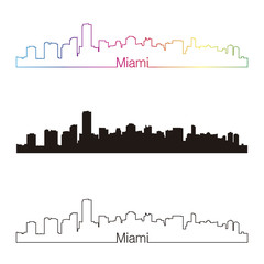 Miami skyline linear style with rainbow
