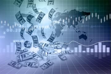 Dollar rain  and finance graphs..