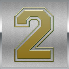 Gold on Silver Number 2 Position, Place Sign