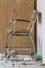 wheelchair in the hospital abandoned