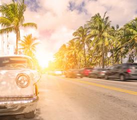 Miami ocean drive sunset