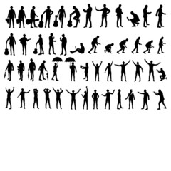 Various man silhouettes vector illustration