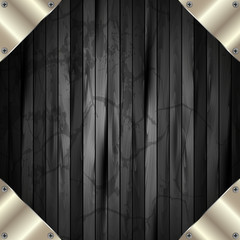 The metal frame on a dark wooden background 11