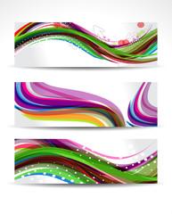 Colorful Wave Banner Set
