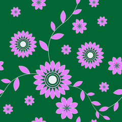 Seamless Pink Flowers On A Green Background