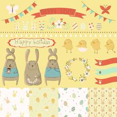 Easter scrapbook set - labels, ribbons, seamless patterns