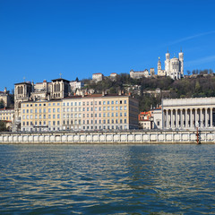 Lyon view with blue sky