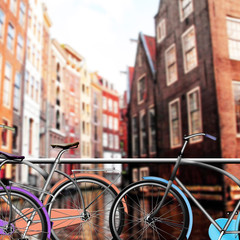 Bicycle Parking in Amsterdam, Dutch houses near water