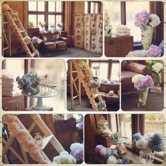 collage in the room against the window with flowers decorative s