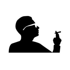 man smoking cigarette vector