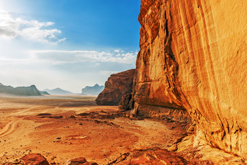 Red sandstone cliff in the desert of Wadi Rum