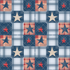 Seamless checkered patchwork stars pattern