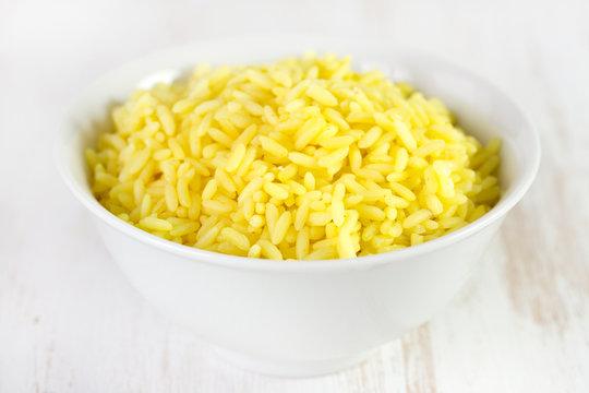 rice in white bowl